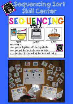 Sequencing can be a difficult skill for students to master. Use this sequencing sort skill center as a fun review for students. Includes 26 picture card sets and 4 blank sets. #TpT #TeacherGems #LanguageArts
