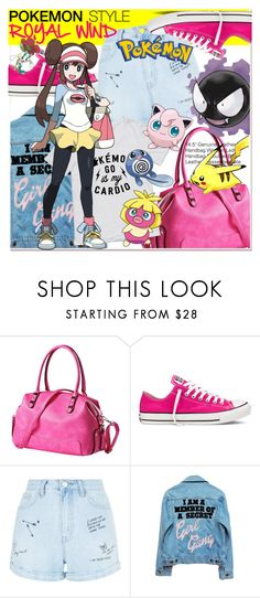 """pokemon style"" by paculi ❤ liked on Polyvore featuring Converse, New Look, High Heels Suicide, Pokemon and jeansjacket"