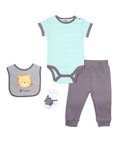 ae9eef6ca50b Cutie Pie Baby Blue & Charcoal 'Be Happy' Bodysuit Set - Infant