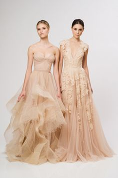 That v-neck lace gown on the right is AMAZING. Reem Acra Resort 2013