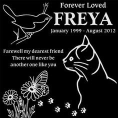 Personalized Cat with Bird and Butterfly Pet Memorial 12x12 Engraved Black Granite Grave Marker Head Stone Plaque FRE1 -- Click on the image for additional details.