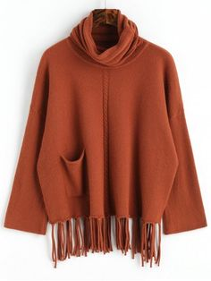 Fringed Oversized Turtleneck Sweater - DARK AUBURN ONE SIZE