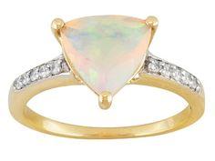 1.35ct Trillion Ethiopian Opal With .08ctw Round White Zircon 10k Yellow Gold Ring
