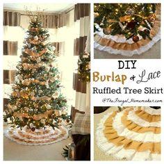 DIY Christmas Crafts : DIY Burlap + Lace Christmas Tree Skirt