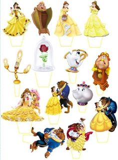 "14 X 3"" Disney Beauty & Beast /Belle Cupcake Topper Stand Up Pre - Cut"