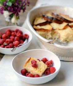 Lemon Brioche French Toast Wiith Raspberries - My ideal Mother's Day brunch includes one my very favorite breakfast casseroles: A simple strata of brioche bread, layered with lemon zest and custard, and baked until puffy, golden, and silky smooth inside. Brioche French Toast, French Toast Bake, French Toast Casserole, Breakfast Casserole, Brioche Bread, Challah, What's For Breakfast, Raspberry Breakfast, Raspberry Bread