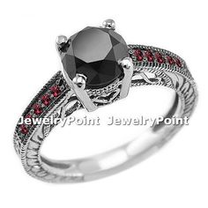 2.45ct Black Diamond & Red Ruby Engagement Ring 14k Gold Vintage Antique Style on Etsy, $1,290.00