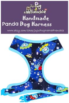 Space Panda Dog harness, Rocket dog harness, Handmade custom dog harness #pugharness #dogharness #Frenchbulldog #Frenchieharness