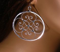 Earrings sterling silver filigree by RadiantOriginals on Etsy, $40.00