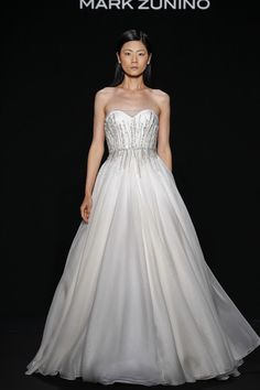 Mark Zunino Style 142  Off-white silk organza ball gown with jeweled waistband