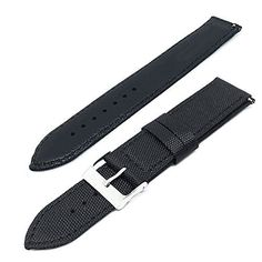 Fitian Nylon Canvas Watch Strap Leather Linings Stainless Steel Metal Buckle for Moto 360 2nd Man 46mm Asus Zenwatch 2 Man LG G Watch Pebble Samsung Gear Neo and other WatchesBlack 22mm * You can find out more details at the link of the image.