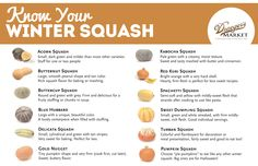 Know Your Winter Squash  Here's a Handy Chart to Help You Decipher All of the Winter Squash This Season -  Like and Repin