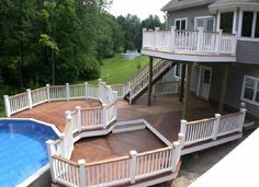 Multi Level Deck ideas – If you've got the space whereas homes with backyards might have one deck and terrace space, the tendency is to make a sprawling deck. every level is used for a purpose; a area, onto a deck, eating an area to visit with family and friends, and space square measure incommodious within the house. #deckrailingdesigns