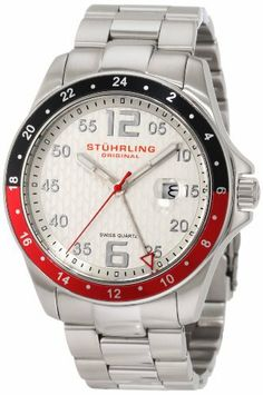 Stuhrling Original Men's 289.332TT12 Aquadiver Regatta Galleon Swiss Quartz Date Stainless Steel Bracelet Watch Stuhrling Original. $81.00. Protective Krysterna crystal with designed case back. Brushed and polished stainless steel case with black and red bezel. Water-resistant to 165 feet (50 M). Brushed and polished stainless steel link bracelet with deployant clasp. Silver designed dial with silvertone markers and date window. Save 81%!