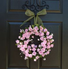 Wreath Gorgeous Pink Rose Wreath Door by southernwreaths4you