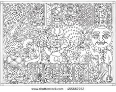 The Dream Team Hand Drawn Black and White Adult Color Book Vector Illustration Full Moon Sleeping Fantasy