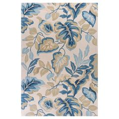 Set a peaceful mood in your living space while adding a tropical touch to your décor with the KAS Rugs Coral 4169 Exotics Indoor Area Rug . Coral Rug, Beach Bedding, Nautical Home, Blue Leaves, Hand Tufted Rugs, Round Rugs, Throw Rugs, Rugs Online, Blue Area Rugs