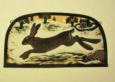 """Winter Hare"" by stained glass artist, Tamsin Abbott"