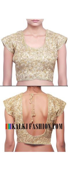 Buy online at: http://www.kalkifashion.com/gold-blouse-embellished-in-zari-and-sequence-only-on-kalki.html Free shipping worldwide.