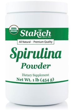 Stakich Spirulina is a high quality superfood that may support immune function, cellular health and increased energy. It is a great source of protein! What Is Spirulina, Blue Spirulina, Spirulina Powder, Coconut Milk Smoothie, Avocado Smoothie, Strawberry Smoothie, Smoothie Bowl, Energy Smoothies, Weight Loss Smoothies