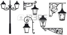 Iron wrought lanterns with decorative ornaments  Vector illustration photo