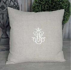 Neutral Linen Monogram Cushion - - Hicks and Hicks Soft Furnishings, Bed Pillows, Neutral, Monogram, Antiques, Stylish, Fabric, Crown, Dreams