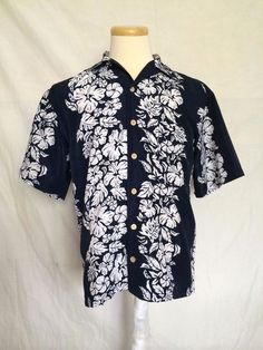 Aloha Joe Hawaiian Shirt Sz Small Dark Blue White Floral Pattern Dark Blue Mens | eBay
