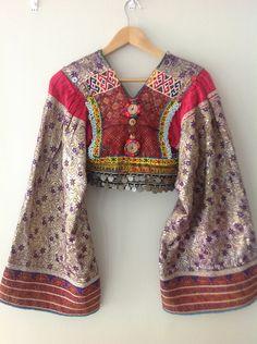 Vintage Avant Garde Ethnic Tribal Kuchi Jacket Top w Huge Angel Kimono Sleeves. $250.00, via Etsy.