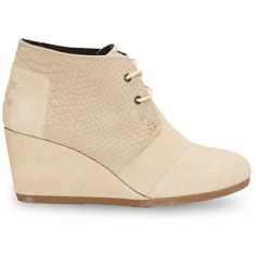 TOMS Cream Suede Snake Women's Desert Wedges (7115 RSD) ❤ liked on Polyvore featuring shoes, boots, ankle booties, heels, toms, cream, suede booties, heeled booties, suede lace up booties and lace up wedge ankle booties