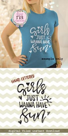 Girls just wanna have sun, cute fun quirky summer beach digital cut files, SVG, DXF, studio3 for cricut, silhouette cameo, diy vinyl decals by LoveRiaCharlotte on Etsy