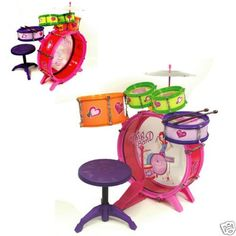 """GIRLS KIDS DRUM SET KIT TOY CHILDREN MUSICAL INSTRUMENT by RAID. $50.00. LOADS OF FUN. BEST QUALITY AND PRICE. GREAT GIFT. Description Drum :  8 Pieces Kids Drum Set  Age Group: 3 - 5 Years Old  Set = 23""""  Drum = 14""""  Chair = 10  1 Large Brass drum  2 Mini tom tom  1 Cymbal  1 Bass Drum Pedal Pedal  2 Drum sticks  1 Chair  Includes:   Girl Drum Set Kit"""