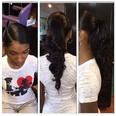 Quick Weave Ponytail Hairstyles - All About Weave Ponytail Hairstyles, Curly Ponytail, Easy Hairstyles For Medium Hair, Sleek Ponytail, Ponytail Styles, Black Girls Hairstyles, Perfect Ponytail, Prom Ponytails, Senior Hairstyles