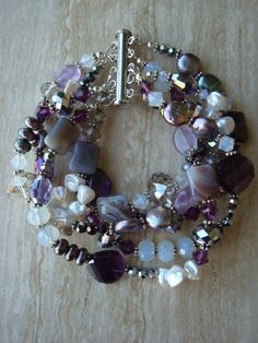 Agate Amethyst Freshwater Pearl Multi by DonnaCocciaCreations