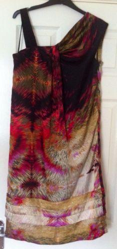 New - Designer Jasper Conran Stunning Multi Print Layered Dress Size 14