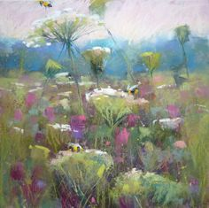 Wildflowers Queen Anne's Lace Bees Flower by KarenMargulisFineArt, $175.00