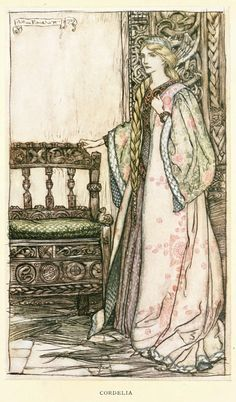 "In ""King Lear"", Lear's youngest daughter, Cordelia, may be seen wearing an outfit similar to this.~ - King Lear, Tales from Shakespeare, by Charles and Mary Lamb. ... But Cordelia, disgusted with the flattery of her sisters, whose hearts she knew were far from ... Cordelia-- King Lear--Arthur Rackham"