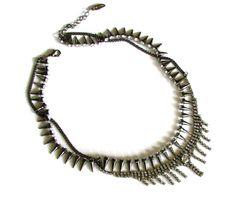 rhineston, spike necklac