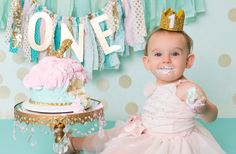 teal and pink girls first birthday portrait session, one year old, birthday cake theme, Costa Mesa, CA