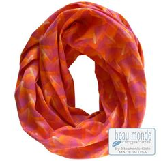 Glow as gorgeous as fiery Fall foliage! Brighten up in this lustrous art-print organic sateen infinity scarf. http://bit.ly/1wG6Ka6