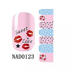 1-Set Cute Popular Fashion Hots Nails Art Sticker Heat-resistant Wraps Pedicure Tips Polish Decorations Color Type NAD0123 * Continue to the product at the image link.