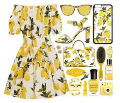 """Lemon Print"" by monmondefou ❤ liked on Polyvore featuring Dolce&Gabbana, Drybar, Deborah Lippmann, Oakley, Decléor, Versace, BaubleBar, Stephanie Kantis, Pulsar and yellow"