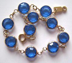Vintage Bracelet Tennis Blue Glass Crystal Rhinestone Gold tone Jewelry lot c