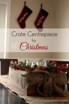 Red, Gold, and Burlap Centrepiece - Love Create Celebrate. An easy to make Crate Centrepiece for Christmas. #holidays #burlap #crate #red #gold