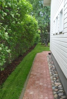 Kiveyskäytävä Side Walkway, Outdoor Walkway, Side Yard Landscaping, Rock Garden Design, Garden Paving, Small Gardens, House Front, Amazing Gardens, Outdoor Living