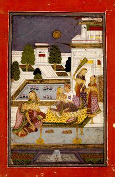 """Dipaka Raga"", Ragamala, opaque watercolour on paper, Hyderabad, ca. 1790. http://collections.vam.ac.uk/item/O433737/dipaka-raga-painting-unknown/"