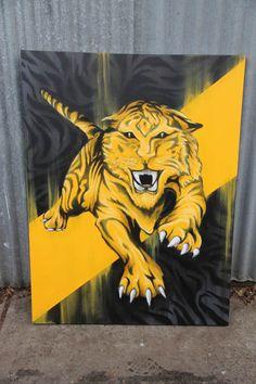 Richmond FC 2013 #graffiti #canvas by #dubiz #afl #richmond #tigers #football #teamlogo #logo #art #fineart