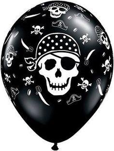 "5-20pc 11"" Pirate Skull & Cross Bones Print Latex Balloons Black Happy Birthday"