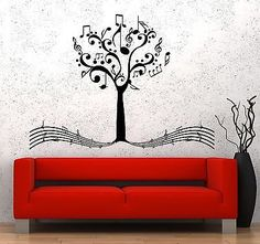 Wall Vinyl Music Notes Tree For Bedroom Guaranteed Quality Decal Unique Gift Vinyl Music, Music Wall, Vinyl Wall Stickers, Wall Vinyl, Music Bedroom, Music Decor, Custom Wall, Mural Art, Tree Art