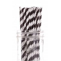 Check out this item at One Kings Lane! S/50 Striped Straws, Black