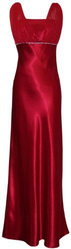 Satin Chiffon Prom Dress Holiday Formal Gown Crystals Full L $69.99